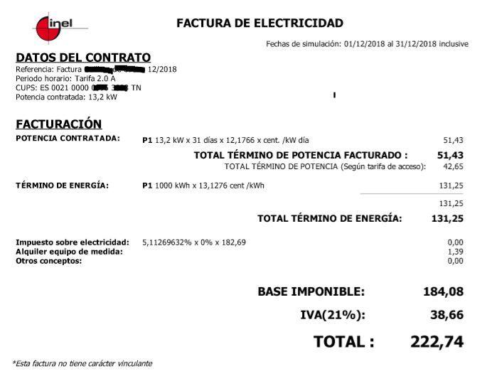 Control energetico oficinas - factura electricidad